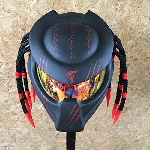 JK38 New Gorgeous Black & RED Claw Custom Predator Motorcycle Helmet AIRBUSH Painting DOT/ECE Standard - Ship from Thailand (L = 59-60 cm)