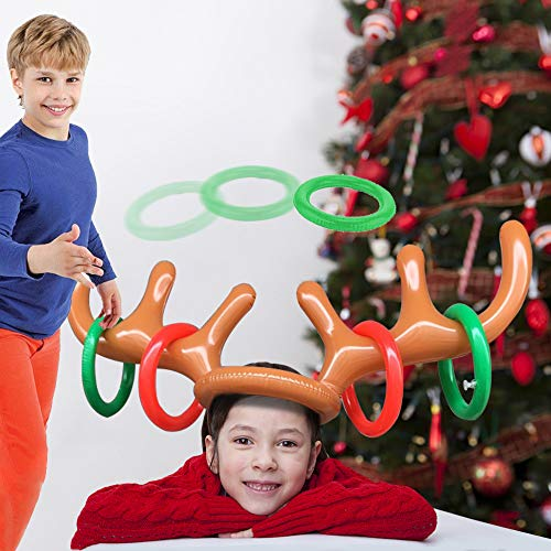 FUTUREPLUSX Christmas Inflatable Reindeer Antler Ring Toss Antlers Game for Christmas Holiday Party Game Photo Props Tools