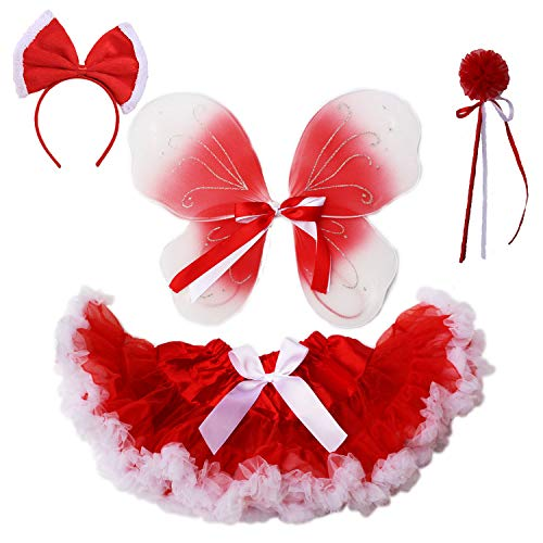 Baby Girls Christmas Costume Pettiskirt Tulle Pleated Tutu Skirt Princess Fluffy Soft Ballet Birthday Party Dance Pettiskirt for Toddler Girls (Red White Pettiskirt)