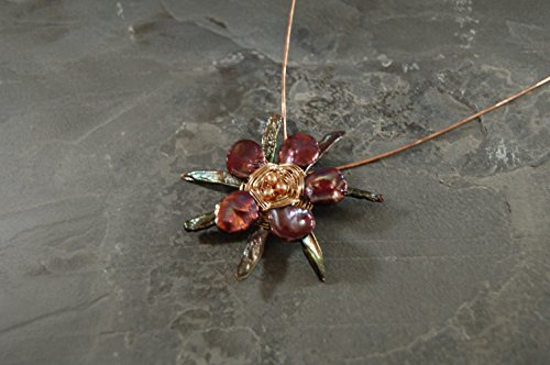 Tundra Flower Collection Sculptural Flower Two Tone Gold Pendant Necklace