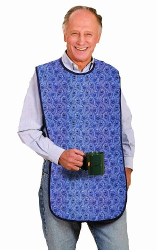 Priva Extra Long Paisley Waterproof Mealtime Protector Adult Bib 18