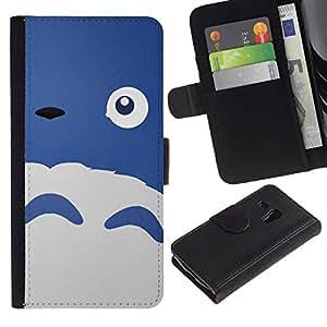All Phone Most Case / Oferta Especial Cáscara Funda de cuero Monedero Cubierta de proteccion Caso / Wallet Case for Samsung Galaxy S3 MINI 8190 // Happy Cute Monster Blue Sheep Eye