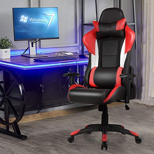 Ergonomic High Back Racing Style Gaming Chair - Red Apontus