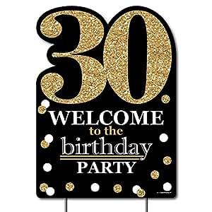 Adultos 30th cumpleaños–dorado–accesorios de fiesta–fiesta de cumpleaños Bienvenido Yard Sign