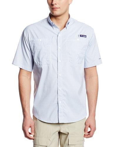 Columbia Mens Super Tamiami Short Sleeve Shirt, Vivid Blue Gingham, Medium