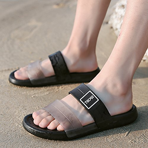 fankou The Personality of The Summer Wear a Seaside Beach Shoes Men's Summer Soft, Non-Slip Cool Slippers Male Tide, 41, Black