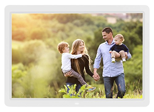 14 inch Digital Photo Frame 1080p and Video with a Motion Sensor and 16GB of Internal Memory - White by Spiro Goods