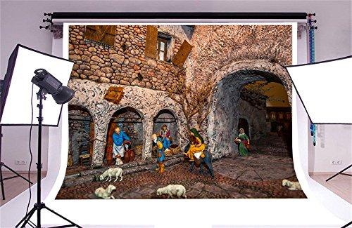 Laeacco 7x5FT Vinyl Photography Backdrop Shepherd Sheep Weathered Brick House White Sheep Traditional Neapolitan Christmas Crib Photo Background Children Baby Adults Portraits Backdrop