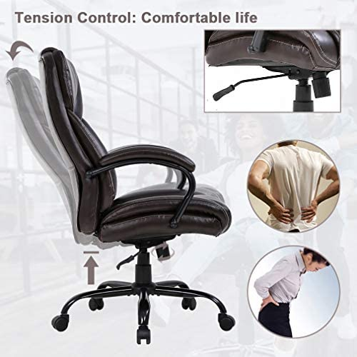 Big and Tall Office Chair 500lbs Wide Seat Ergonomic Desk Chair Task High Back Executive Chair Rolling Swivel PU Computer Chair with Lumbar Support Armrest Adjustable Chair for Heavy People, Brown 51U gdv0IIL