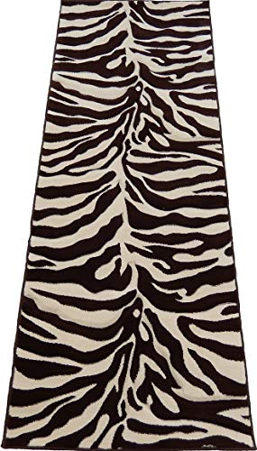 Cream Zebra Brown (Runner Zebra Cream & Brown African Skin Print Woven 3x8 Area Rug Actual Size 2'7 x 7'4)