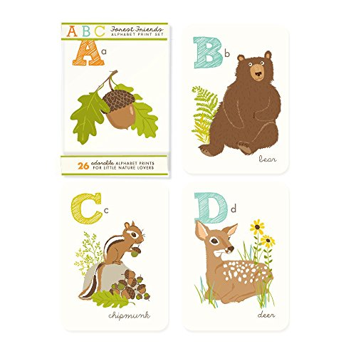 Animals Wall Cards - Sea Urchin Studio Woodland Friends, A to Z, 5 x 7