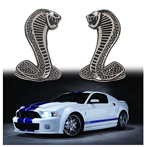 2x Cobra Snake Emblem Chrome Metal Door Fender Badge Stickers for Ford Mustang Shelby ()