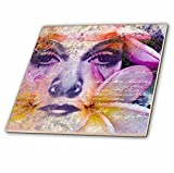 3dRose Andrea Haase Art Illustration - Women Face Illustration Art With Handwriting - 8 Inch Glass Tile (ct_268117_7)