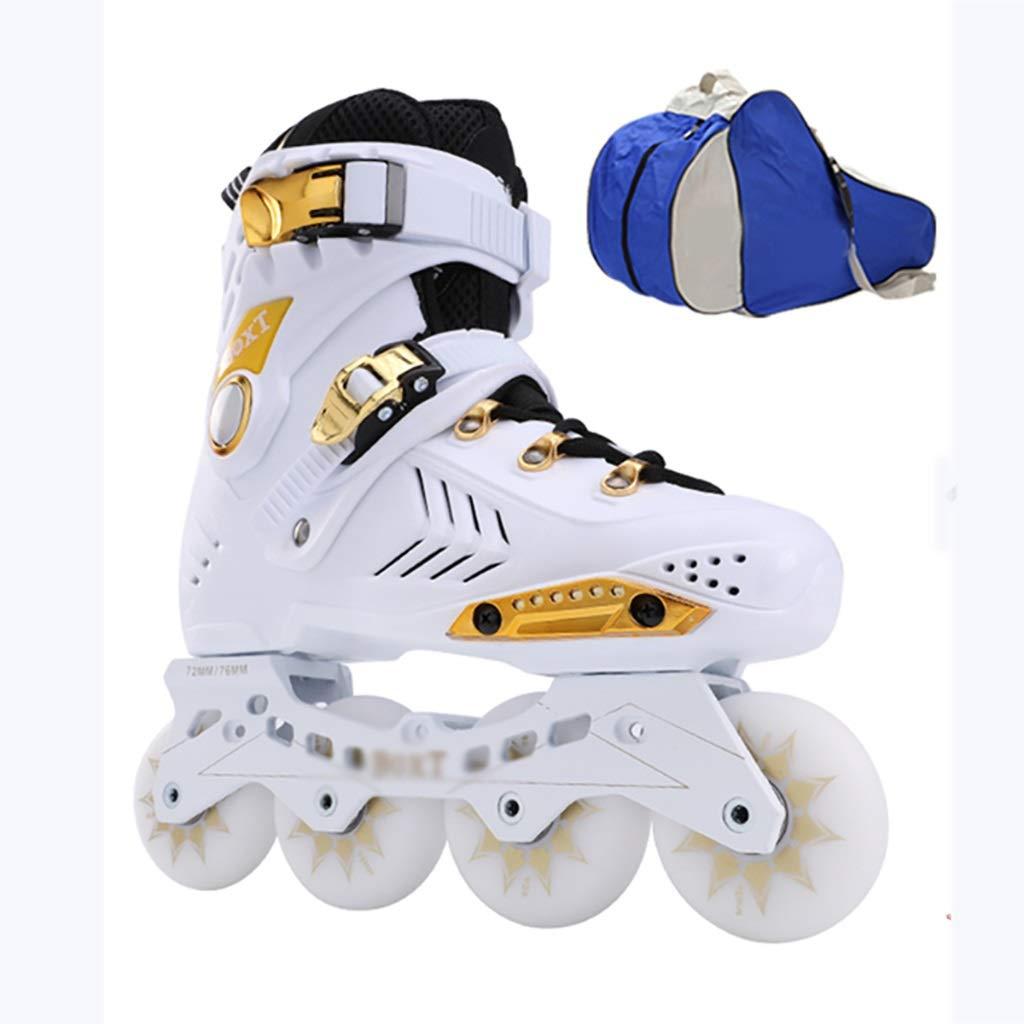 インラインローラースケート大人のフィットネスローラーブレード安全で丈夫な青年屋外レーシングスケート+ローラーバッグ (Color : 白い, Size : EU 37/US 5/UK 4/JP 23.5cm) 白い EU 37/US 5/UK 4/JP 23.5cm