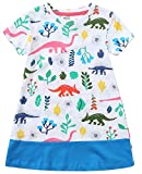 Baby Girls Cotton Summer Sets Shortsleeve Pattern t-Shirts Shorts 2 pcs Clothing Sets (7T, Dinosaur)