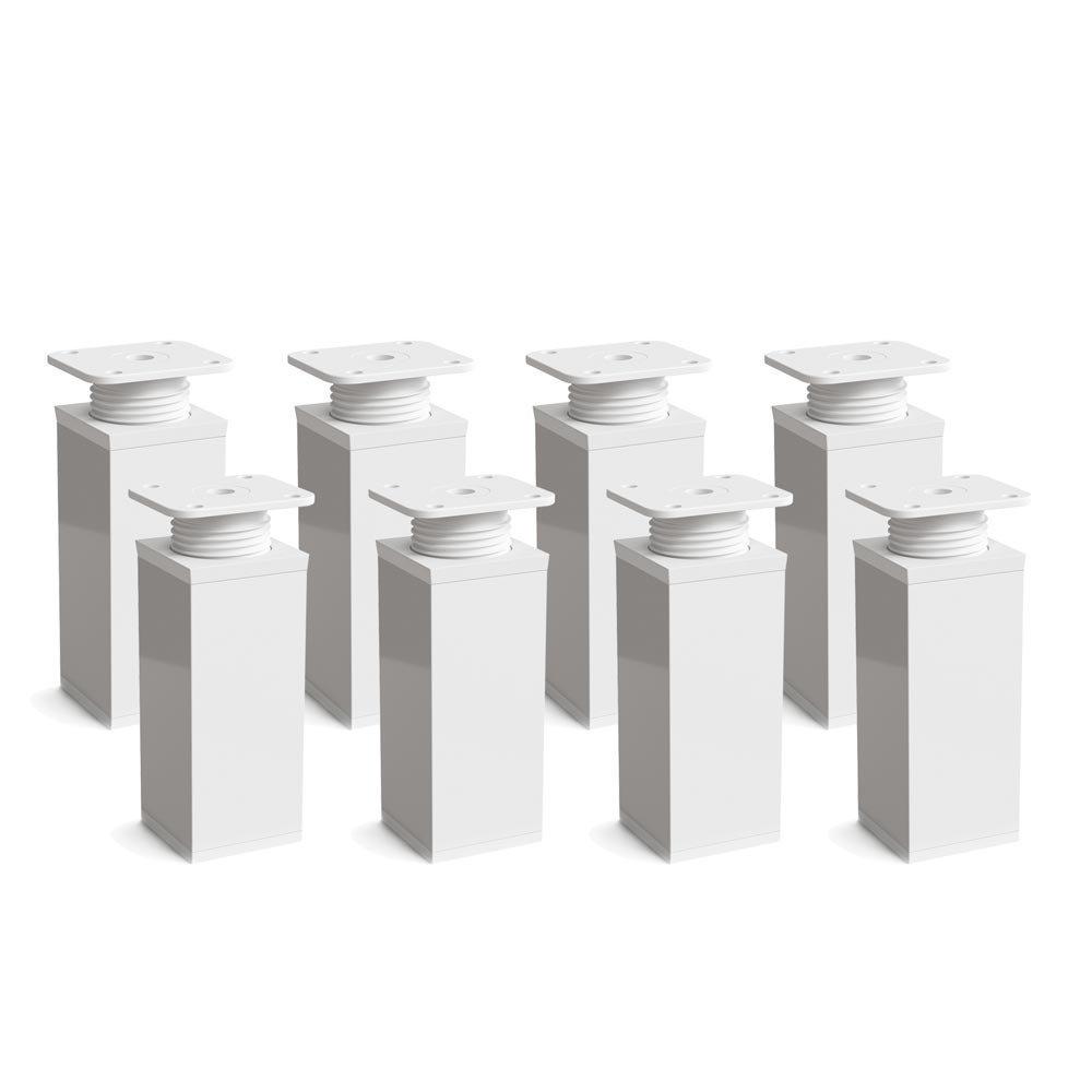 Design-Möbelfüße Doppelpack, 2 x 4er Set (8 Stück), höhenverstellbar | Vierkant-Profil: 40 x 40 mm | Sossai MFV1-WH | Farbe: Weiß | Höhe: 80mm (+20mm) | Material: Aluminium | Holzschrauben inklusive