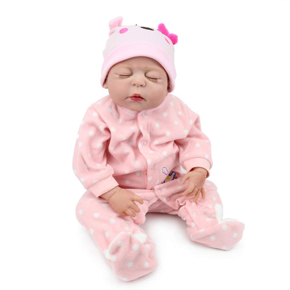 NPKDOLL Reborn Baby-Puppe, lebensechte Simulation, Mädchen, 55 cm, Weißhes Silikon, geschlossene Augen, kann eine Dusche nehmen Baby liebliches Spielzeug zum Sammeln Puppe Z203