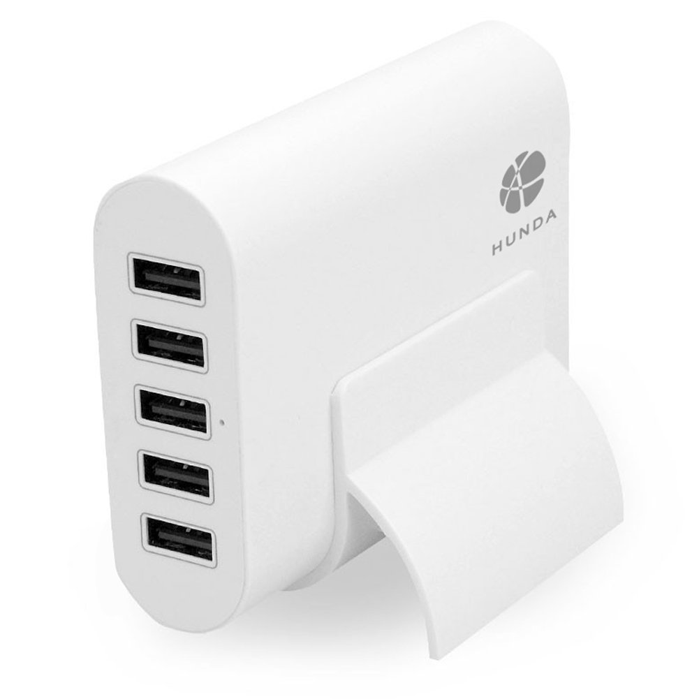HUNDA 5-Port USB Charger, 50W/10A Fast Wall Charger + Smart Technology + 4 Ft Power Cord + Little Stand for iPhone, Samsung Galaxy and More