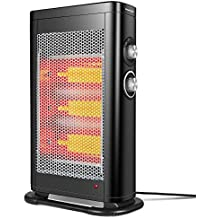 GEEK HEAT Infrared Convection Heater,1000W/1500W Electric Portable Space Heater for office,home and Indoor Use, Safe Tower Radiant Quartz Heater with Adjustable Thermostat,Tip-Over,Overheat Protection