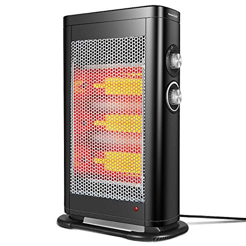 GEEK HEAT Infrared Convection Heater,1000W/1500W Electric Portable Space Heater for Office,Home and Indoor Use,Safe Tower Radiant Quartz Heater with Adjustable Thermostat,Tip-Over,Overheat Protection