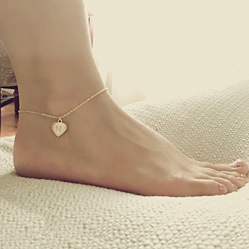 Gold Heart Anklet Rose Gold Anklet Foot Jewelry Charm Anklet Silver Anklet Gift for Women Bridesmaid gift - DCHA ()