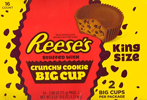 Reese's King Size Stuffed with Crunchy Cookie Big Cup – Kids Favorite Snack - 2.68 Oz (16 (Reeses Chocolate Cookies)