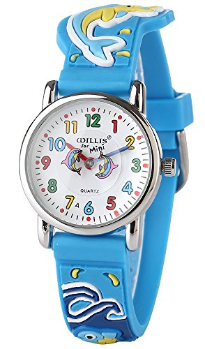 USWAT Kid Watch Waterproof 3D Cute Cartoon Digital Silicone Quartz Wristwatch for Little Girl Boy Child Gift
