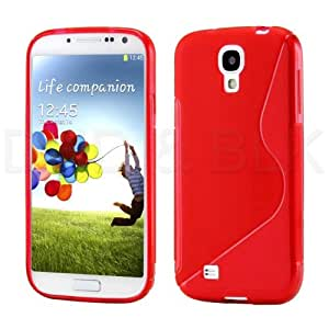 Red S-line Wave Shape Gel TPU Soft Case Cover Skin for Samsung Galaxy S Iv S4 I9500