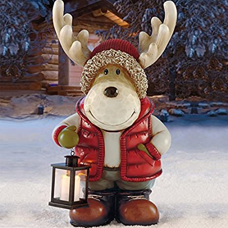 2ft 3 67cm indooroutdoor standing christmas moose with led lantern christmas