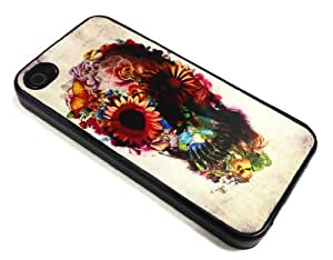 Good-will - Floral Sugar Skull Design Cellphone Case for Iphone 4 4s Apple 4g ,Hard Case Skin Cover Protector Accessory,hard Plastic Cover +With Gift