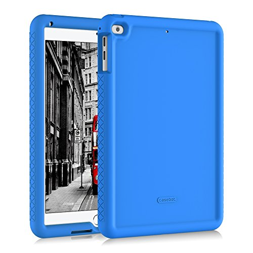 Fintie iPad 9.7 2018/2017, iPad Air 2, iPad Air Case - [Mighty Shield] Heavy Duty Anti Slip Shock Proof Kids Friendly Drop Protection Silicone Cover for Apple iPad 6th 5th Gen, iPad Air 1 2, Blue