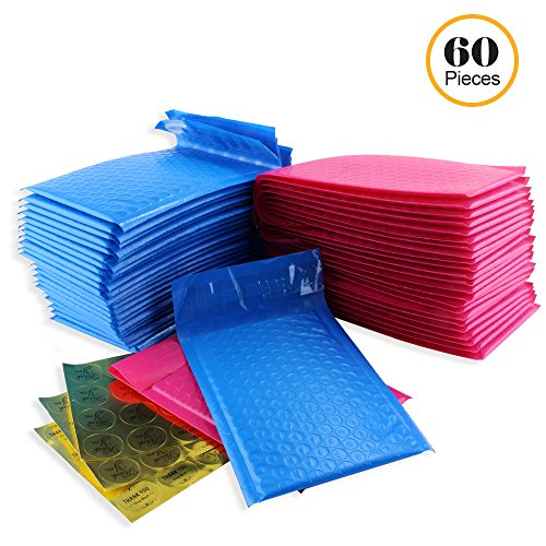 #000 4x8 Inch Pack of 60 Pink and Blue Poly Bubble Mailers and 60 Thank You Stickers. Padded Shipping Envelopes Bags for Packing Goods with Self Adhesive Strip and Made Water Resistant