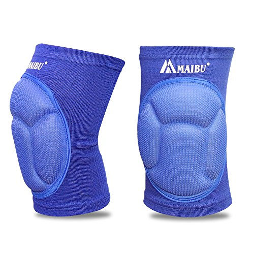 MAIBU Protective Volleyball Knee Pads Thick Sponge Anti-Collision Kneepads Protector Non-slip Wrestling Dance Knee Pads Support Sleeve for Outdoor Sport(1 Pair,Blue)
