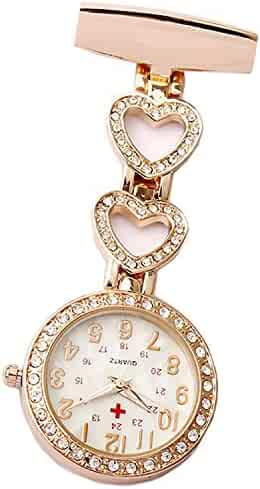 GORBEN Ladies Heart Steel Crystal Nurse Doctor Paramedic Tunic Brooch Quartz FOB Pocket Watch