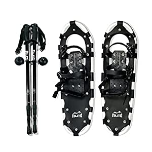 Alps All Terrian Snowshoes for Kids Women Men + Pair Antishock adjustable Snowshoeing Pole (Black) + Free Carrying Snowshoes Tote Bag (22 INCHES)