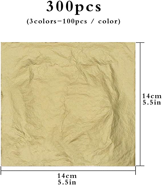 KINNO Gold Leaf Sheets 100pcs Gold Foil Leaf for Gilding Arts/&Crafts Project Furniture Home Decorations Ceramics 6.3 by 6.3 16x16CM