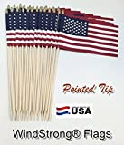 Lot of -24-12×18 Inch US American Hand Held Stick Gravemarker Flags WindStrong® with Spear Tip 30 Inch Pointed Bottom Dowel Made in the USA
