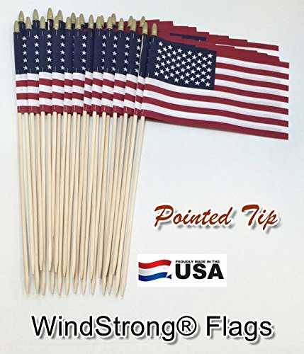 Lot of -24- 8x12 Inch US American Hand Held Stick Gravemarker Flags WindStrong® with Spear Tip 24 Inch Pointed Bottom Dowel Made in the USA