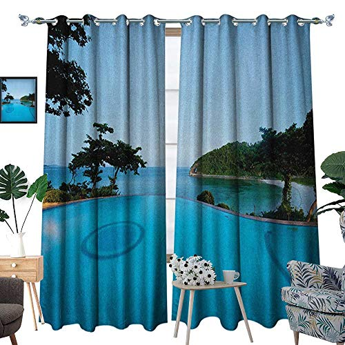 (Warm Family Landscape Blackout Window Curtain Pool View at Sunset Beach in Seacoast Ocean Vibrant Colors Adventure Photo Customized Curtains W84 x L96 Turquoise Green)