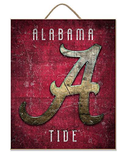 Prints Charming NCAA Alabama Crimson Tide Reto Logo Map Wooden Sign
