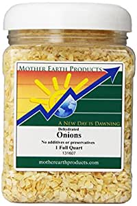Mother Earth Products Dried Onions, Chopped, Quart Jar