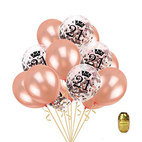 16 Pcs Birthday Party Gold Balloon,Age 21 Happy Birthday Confetti Balloons Latex Balloon,12 inch Perfect for Birthdays Party,1 Pack Random Color String -