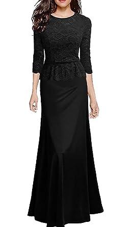 27603c85b Beloved Women Retro Floral Lace 2/3 Sleeve Slim Peplum Wedding Maxi Dress  Black XXS