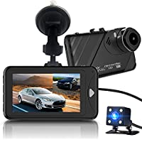 Dash Cam,Bekhic Dash Camera for Cars with Full HD 1080P Front and 720P Rear 290 Degree Super Wide Angle Dual Cameras, 3.0 TFT Display,Reverse Image,G-Sensor, Night Vision, WDR, Parking Guard etc
