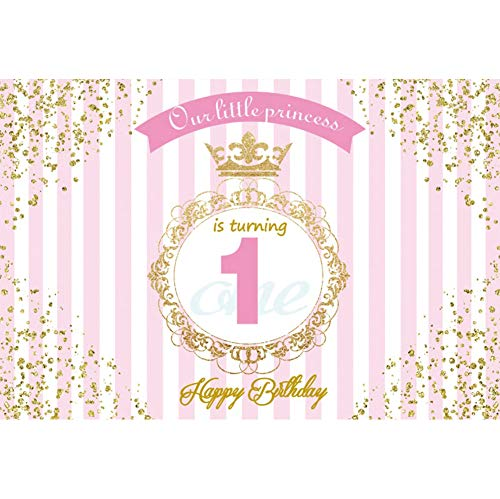 Leyiyi 1st Birthday Party Backdrop 9x6ft Customized Photography Backdrop Retro Garland Pink Banner Sparkling Spots Pink White Stripe Background Girl Birthday Party Baby Shower Backdrop