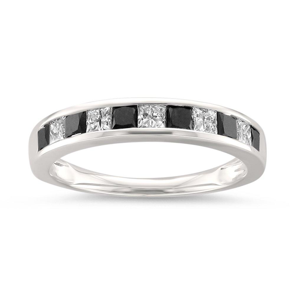14k White Gold Princess-Cut Black & White Diamond Wedding Band Ring (1 cttw, H-I, I1-I2), Size 6