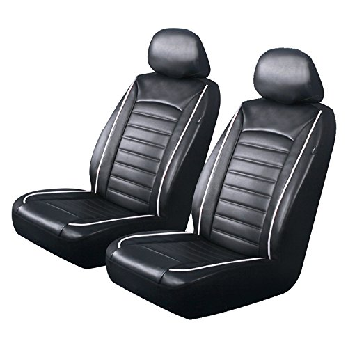 PIC AUTO Luxury Front Car Seat Covers, Waterproof PU Leather with White Piping, Heavy Duty, Airbag Compatible, Fit Most Cars, SUVs and Vans, Black/White, Low Back(4PCS) (Seat Piping)