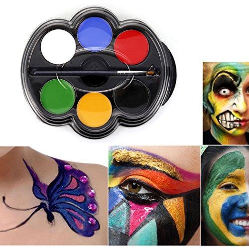 Saebye Gesicht Bodypainting Sicher Nicht Giftig, 6 Lebendige Farbpalette Ideen für Kinder, Parteien, Körperfarbe, Halloween, Thema-Parteien, Cosplay und Weihnachten (Type 1)
