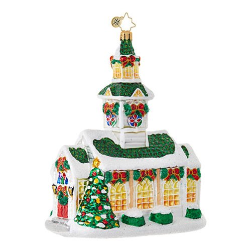 Radko Glass Ornament - Christopher Radko Silver Steeple Church Themed Religious Glass Ornament