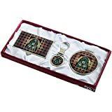 Nacre Mother of Pearl Business Card Holder Compact Mirror Keychain Gift Sets, Business Card Credit Id Card Case Makeup Cosmatic Mirror Key Holder Set Bell Design